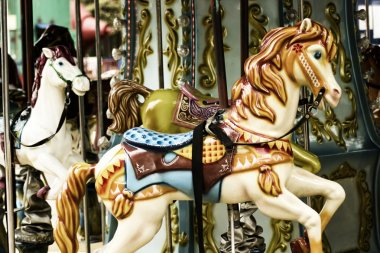 Old Carousel Horse closeup in the park.Vintage