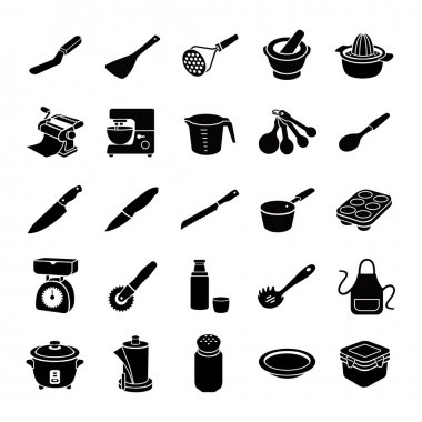 Kitchenware II glyph vector icons