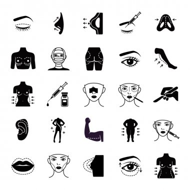 Plastic surgery glyph vector icons