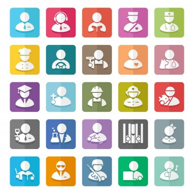 Occupations color vector icons