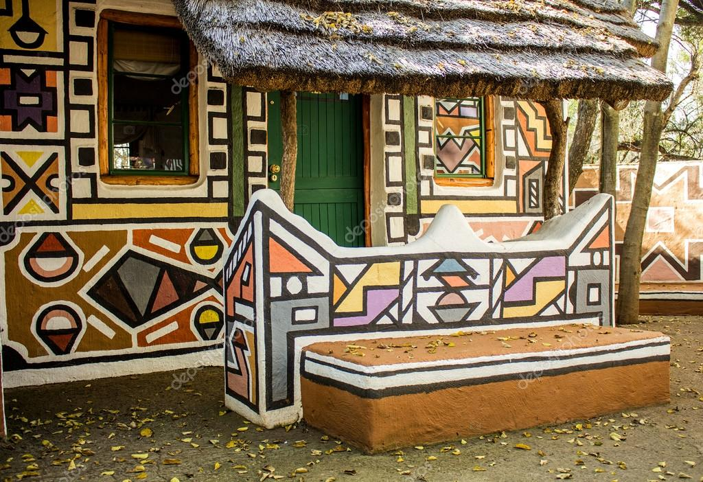 African Rondavel House In Traditional Ethnic Tribal Ndebele Style