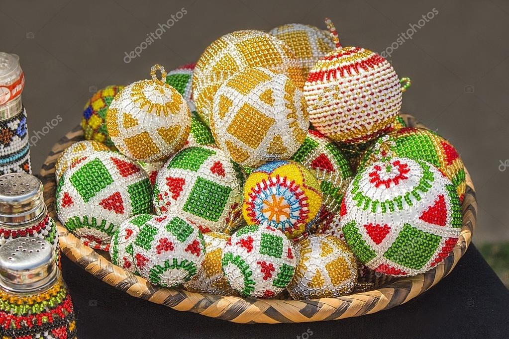 traditional ethnic african handmade colorful bead toys balls christmas decorations unique craftsmanship local craft market in south africa