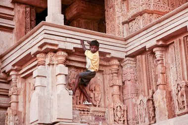 The boy on the wall of one of the temples of love