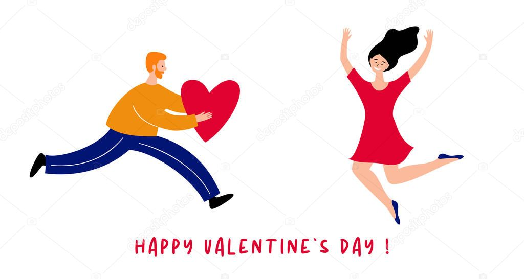 A man is in a hurry to congratulate his beloved woman on Valentine s Day icon