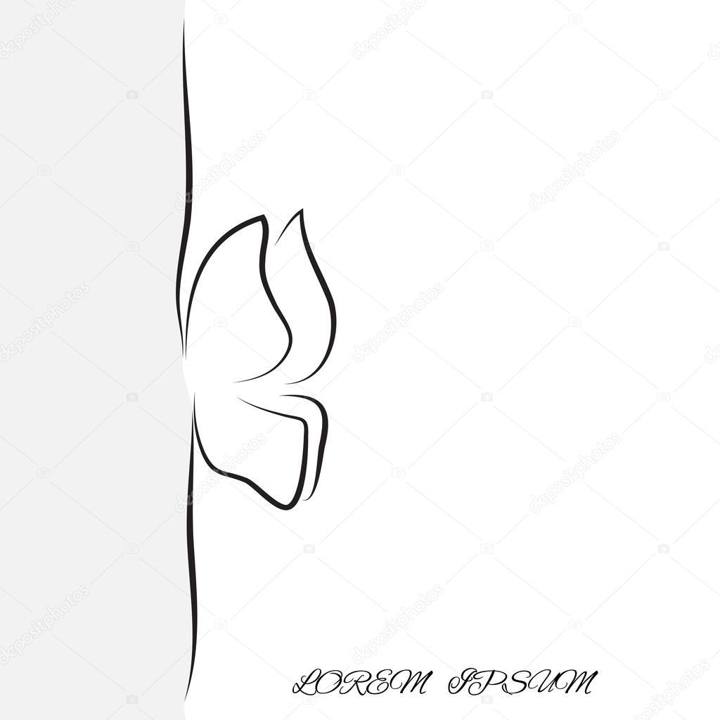 contorno de la mariposa de la insignia de líneas — Vector de stock ...