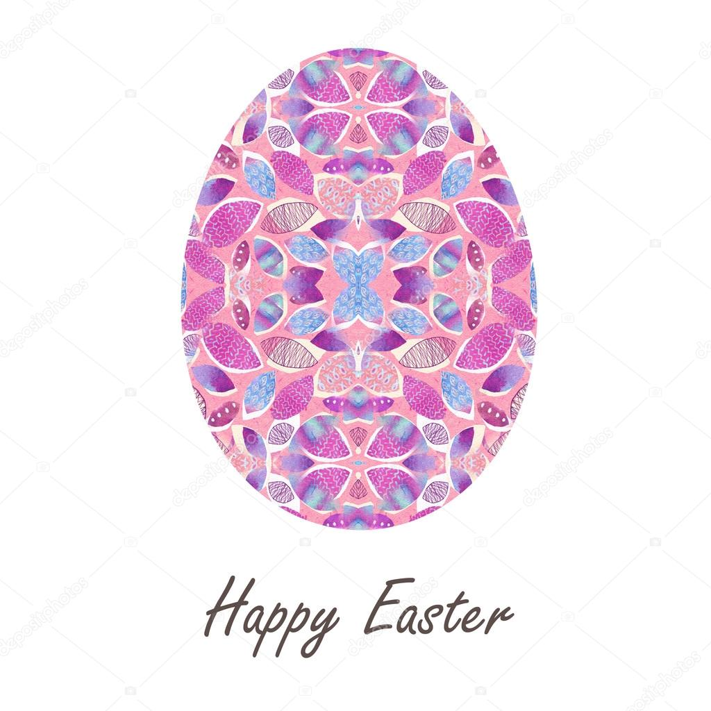 Colorful Single Easter Egg With Beautiful Color Abstract Pattern Isolated On White Background