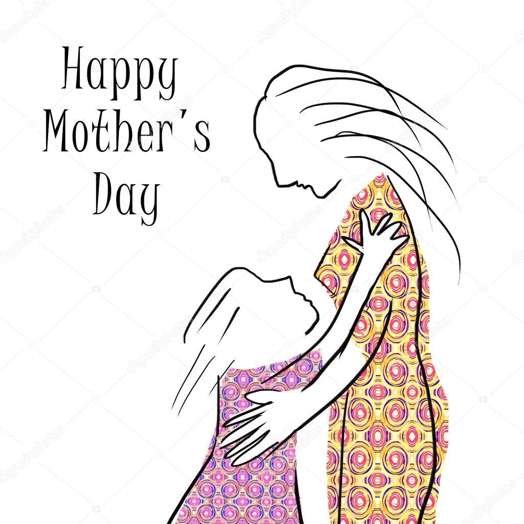 El Boyama Anne Siluet Ve çocuk Mutlu Anneler Günü Kartı Stok Foto