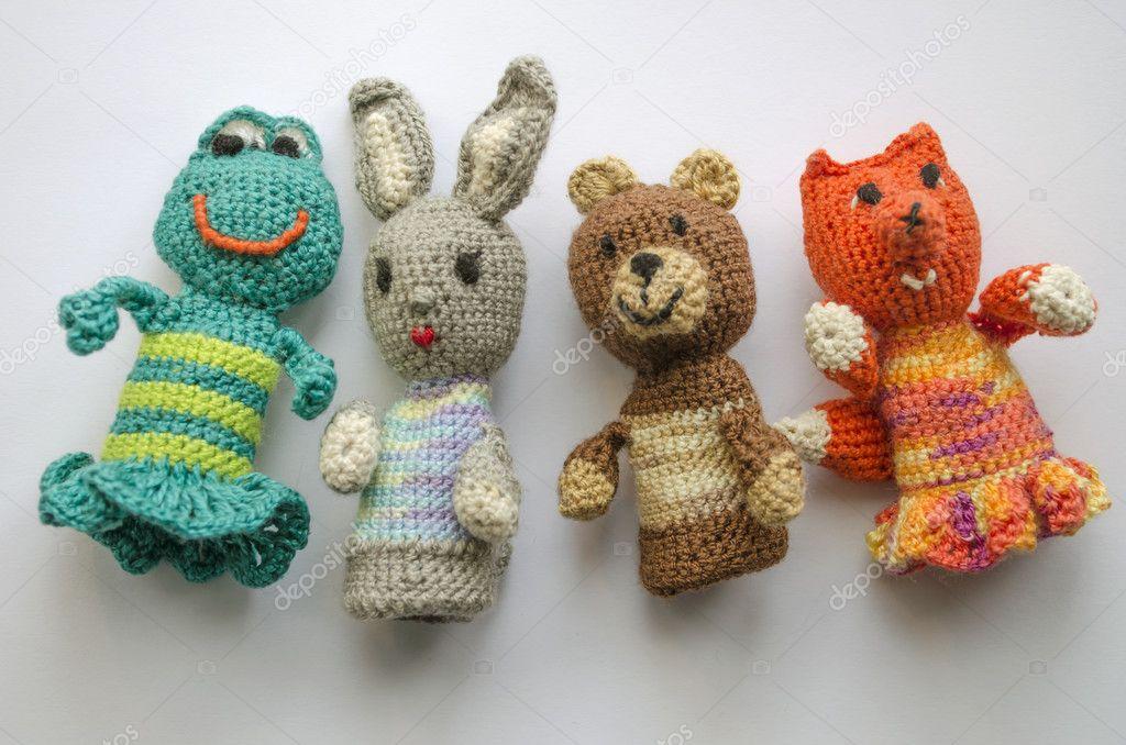 Títeres Dedo Animales Punto Lana Hecho Mano Crochet Tejer Lindo ...