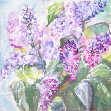 Watercolor painting. A bouquet of lilacs.