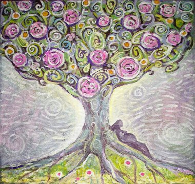 Tree of Life acrylic painting. Spring painting. Illustration of an expectant mother. Canvas. Interior decor. stock vector