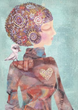 Dreamy young girl with a bird on his shoulder. Attractive, mysterious, interesting lady. Serenity and reverie concept.