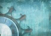 Fotografie Fragment der alten Mauer-Uhr mit römischen Zahlen auf Grunge hintergrund. Abstrakte Komposition für Ihr Design. Blaue Illustration des Teil-Zifferblatt ohne Pfeile in Form von Rad Schiff