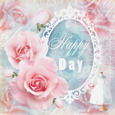 Holiday tender floral card in pink tones with roses, mirror and text field. Wedding theme.  Used for greeting cards, invitations, banners, wraps, textile,wallpaper, web page background.