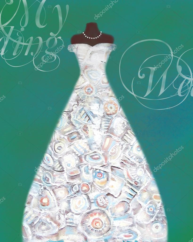 Tarjeta con un maniquí y con dibujos creativos de boda — Foto de ...