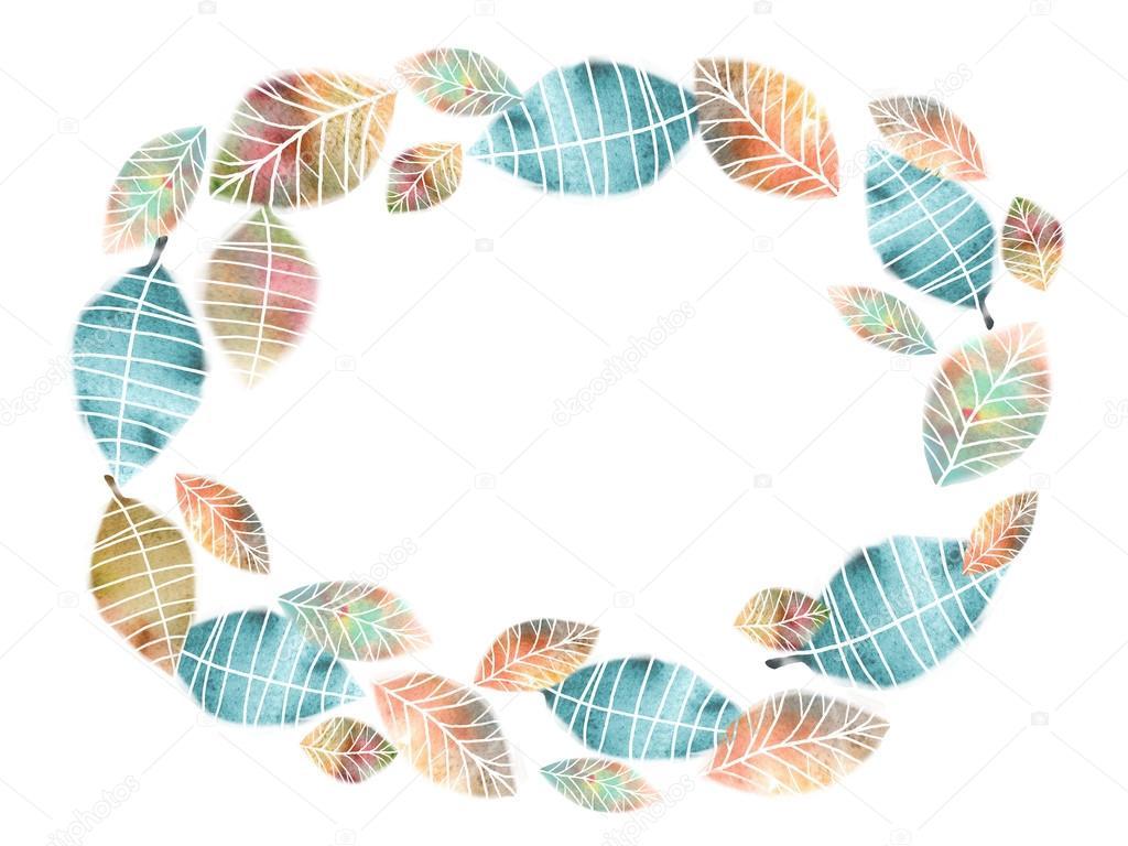 Follaje de otoño ronda Marcos. Círculo temático en forma de cuadros ...