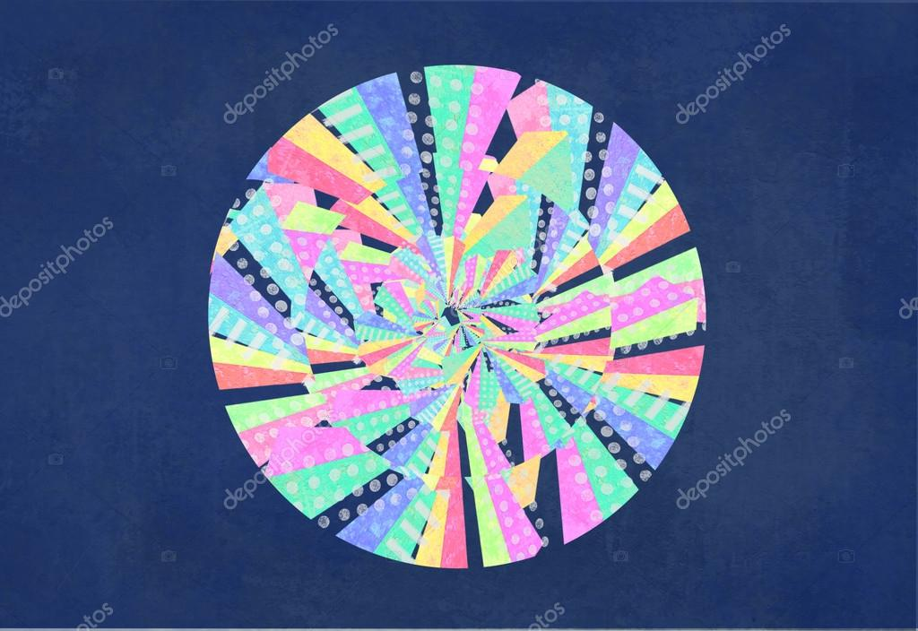 Abstract Colorful Circle Curved Lines Geometric Shapes Dots