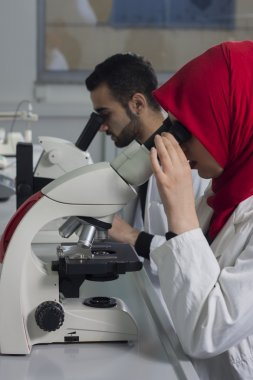 Group of young medical workers are working in lab as lab technician