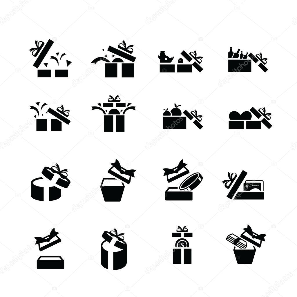 Set black gift icons, open gift box — Stock Vector © icon ...