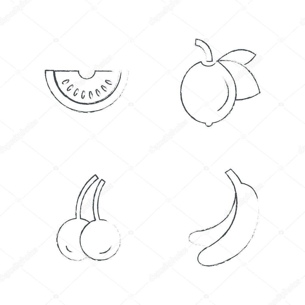 Watermelon Cherry Banana Fruit Draw Stock Vector C Icon Mama