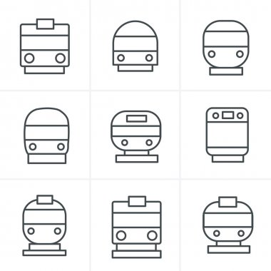 Line Icons Style Set of transport icons - Train and Tram, vector