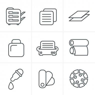 Line Icons Style  Print icons set elegant series