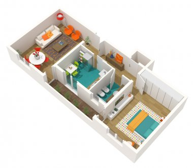 Contemporary interior design - 3d home project: apartment