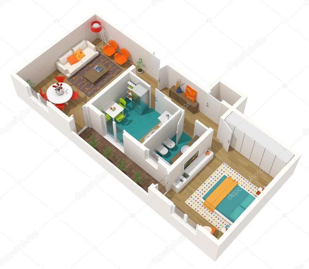 Zeitgenössische Innenarchitektur - 3d home-Projekt: Wohnung ...