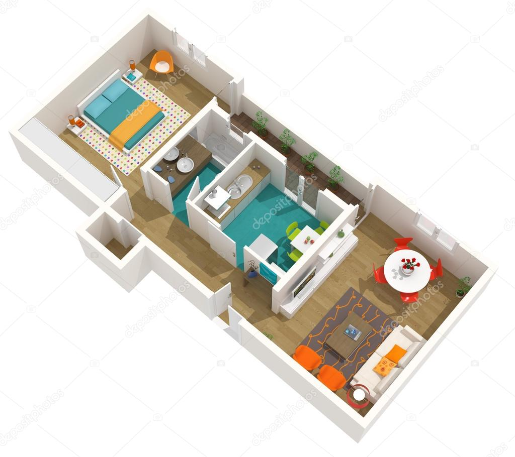 Modern interior design 3d home project apartment stock photo