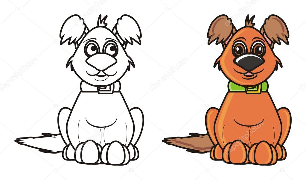 Coloring Brown Shaggy Dog Sitting Stock Photo C Tatty77tatty