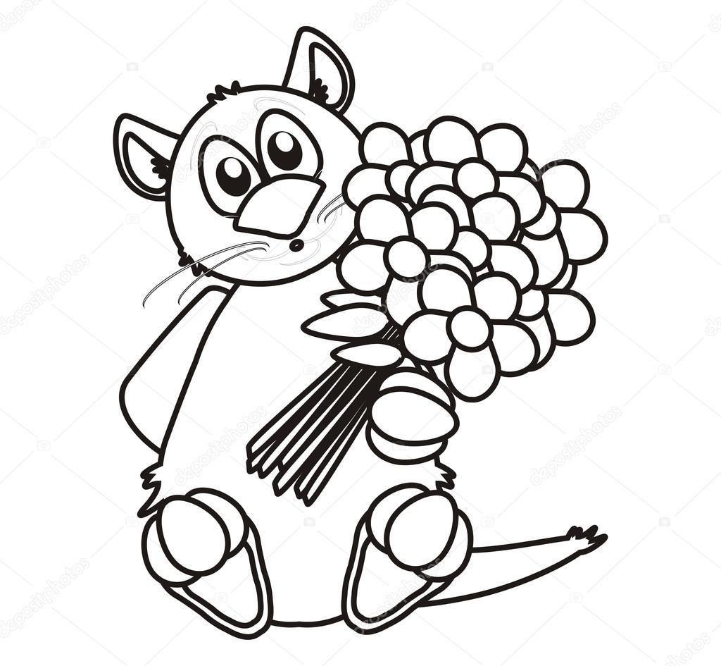 Gato para colorear con un ramo de flores — Foto de stock ...