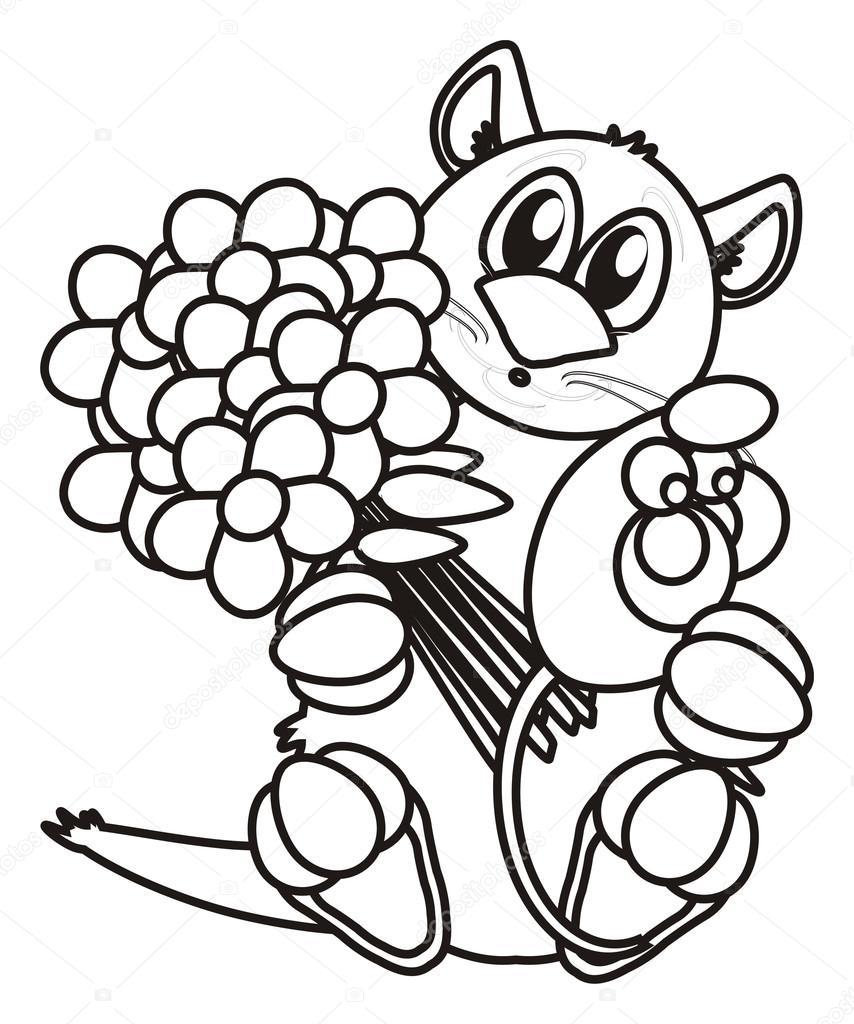 Gato para colorear con un ramo de flores y un ratón — Foto de stock ...