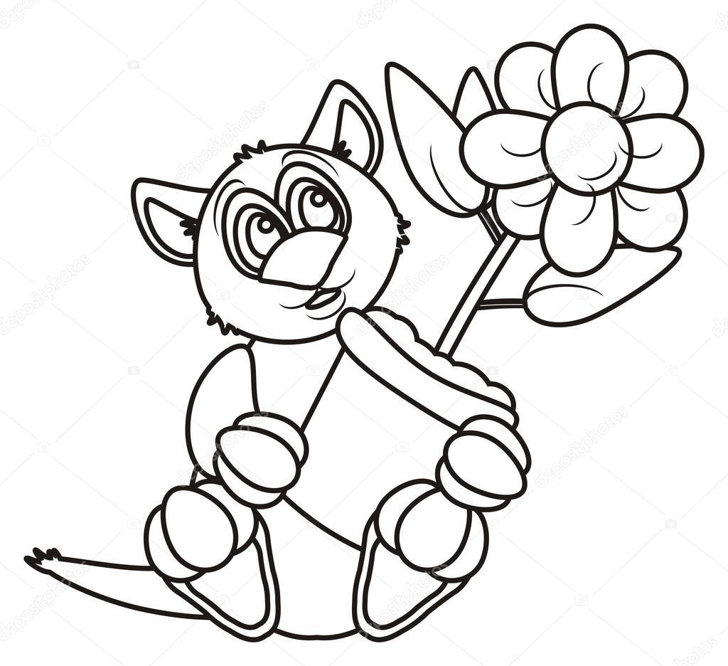 Coloriage Chat Avec Des Fleurs.Coloriage Chat Avec Une Fleur Photographie Tatty77tatty C 101700742