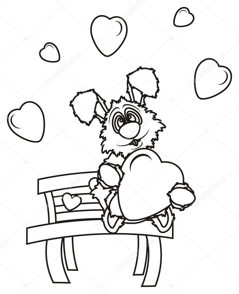 Coloriage Coeur Lapin.Coloriage Lapin Est Assis Sur Un Banc Et Tenant Un Coeur