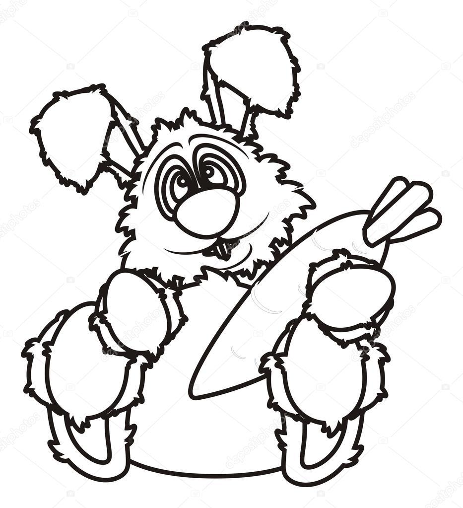 Bunny Oturma Ve Havuç Tutan Boyama Stok Foto Tatty77tatty 102454302