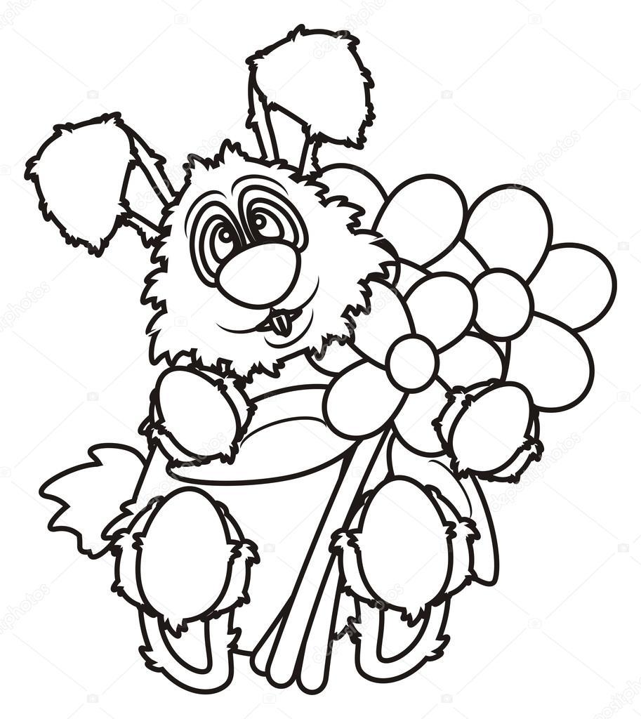 Coloriage lapin de visage blanc avec des fleurs photographie tatty77tatty 102454374 - Coloriage lapin fleur ...
