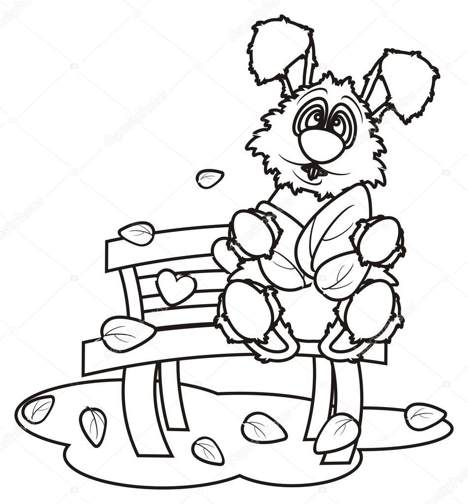 para colorear conejito con hojas sentadas en un banco — Fotos de ...
