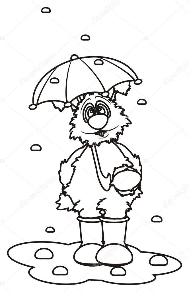 colorear conejo blanco con un paraguas — Fotos de Stock ...