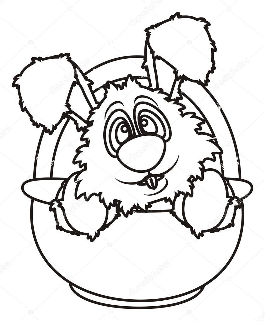 colorear conejito de Pascua sentado en una canasta — Fotos de Stock ...