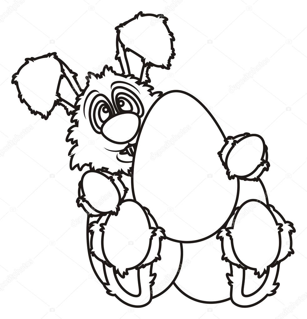 Para colorear conejito de Pascua con huevos — Foto de stock ...