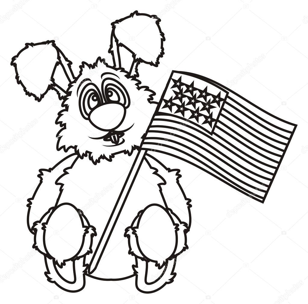 Amerikan Bayrağı Boyama Tavşan Stok Foto Tatty77tatty 102481960