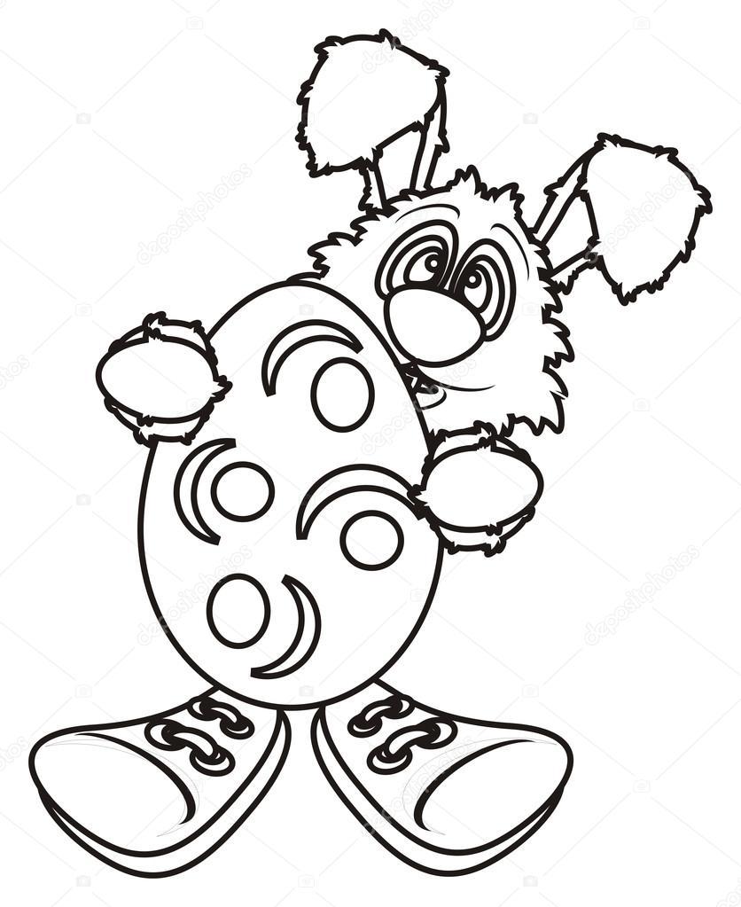 Colorear conejito de Pascua con huevo y zapatillas de deporte — Foto ...