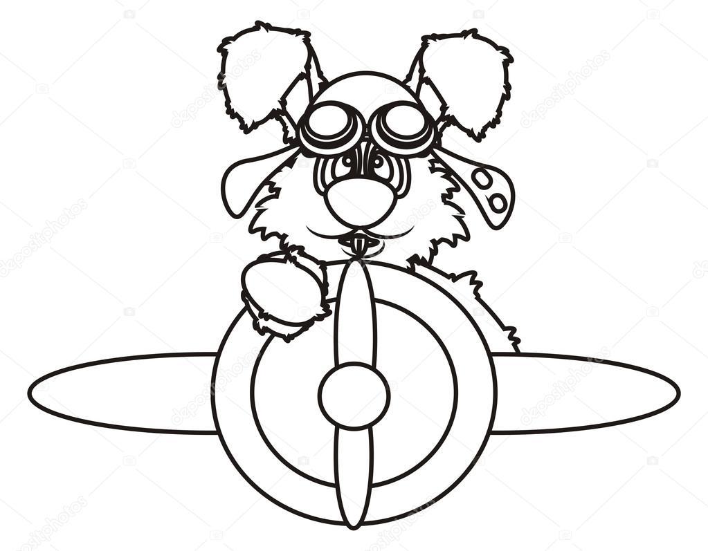 Para colorear conejito volando en un avión — Fotos de Stock ...