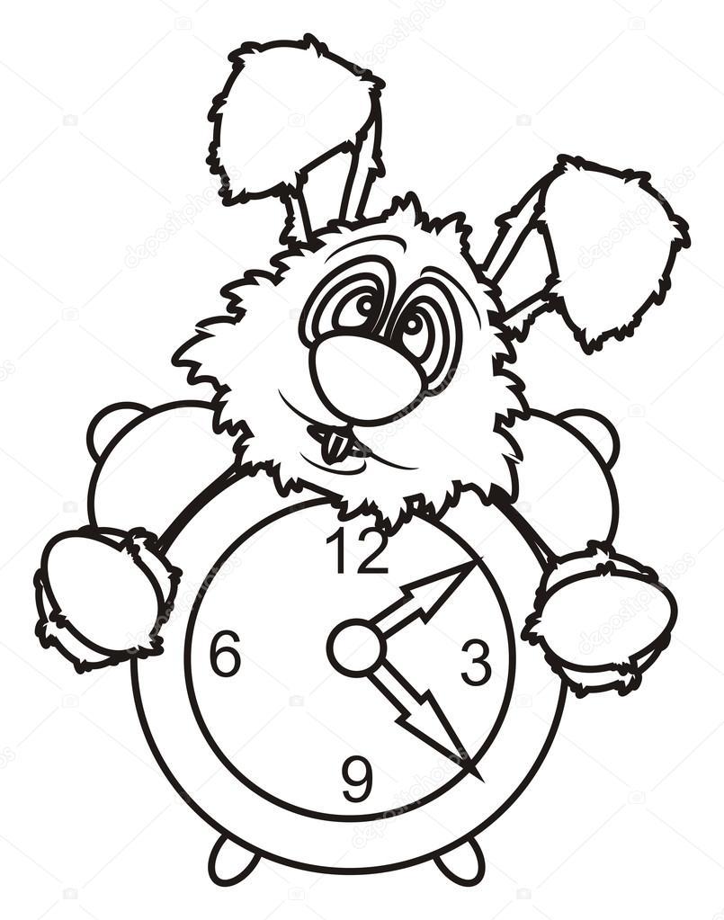 Colorear Conejo Blanco Con Reloj Despertador Fotos De Stock