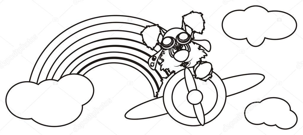 Colorir Coelhinho Branco Voando Em Um Avião