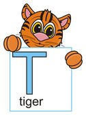 Fotografie tiger looks out letters T