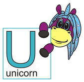 Fotografie unicorn looks out letters U