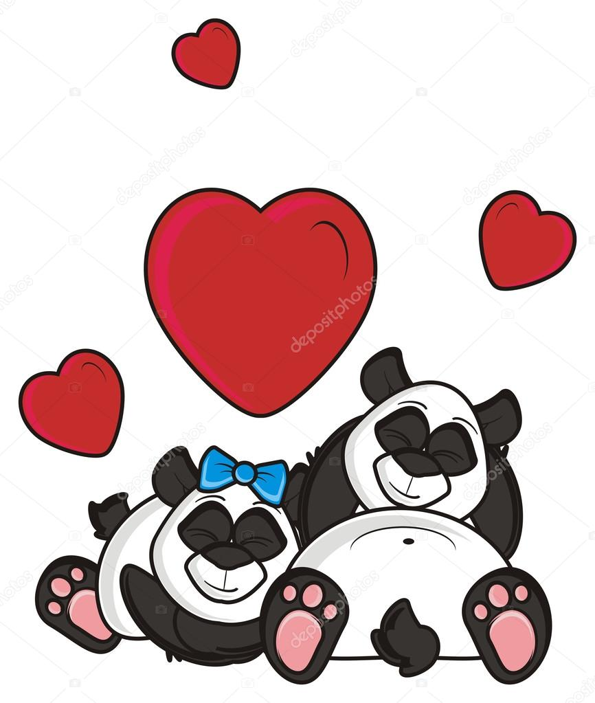 Two Pandas In Love Sleeping Together Near A Hearts Stock Photo