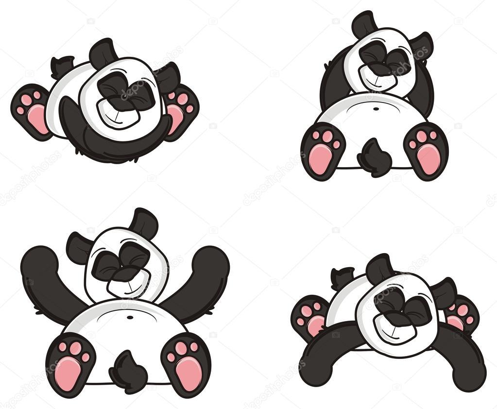 Cuatro Pandas De Diferentes Posturas