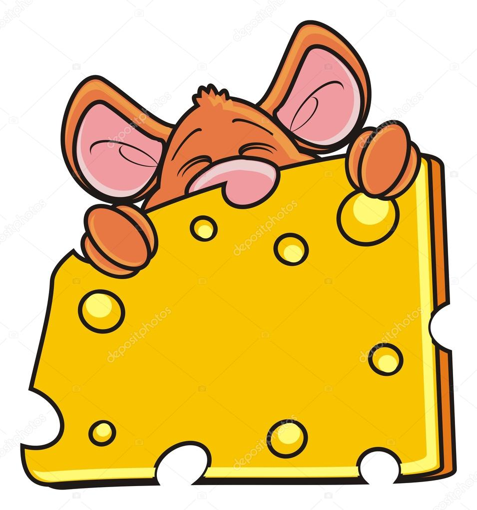 mouse snout peeping from behind a piece of cheese stock photo
