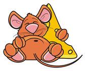 myš s kouskem sýra poblíž